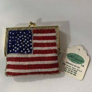 NWT Beaded American Flag Coin Purse w/ Gold Clasp